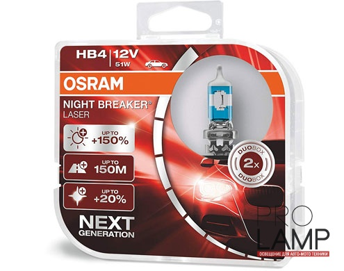 Галогеновые лампы Osram Night Breaker Laser NG HB4 - 9006NL-HCB