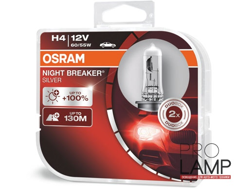 Галогеновые лампы Osram Night Breaker Silver H4 - 64193NBS-HCB